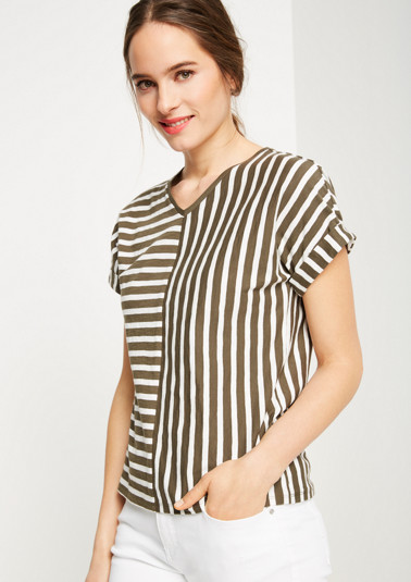 Short sleeve T-shirt with sophisticated striped pattern from comma