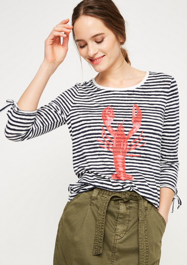 3/4-sleeved jersey top with a stripe pattern from comma