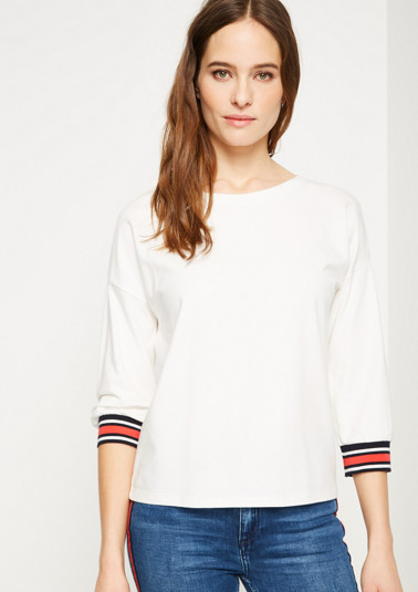 T-shirt with 3/4-length sleeves with stripe details from comma