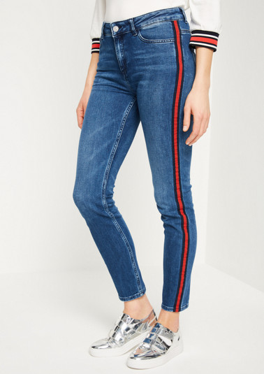 Vintage-looked jeans with side stripes from comma