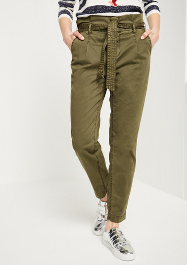 Casual trousers in a safari look with a wide textile belt from comma