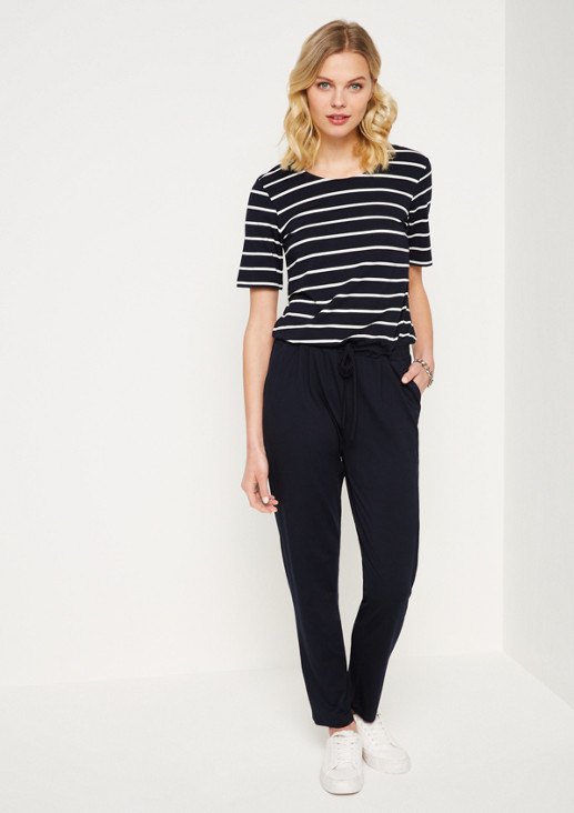 Jersey jumpsuit with a classic striped pattern from comma