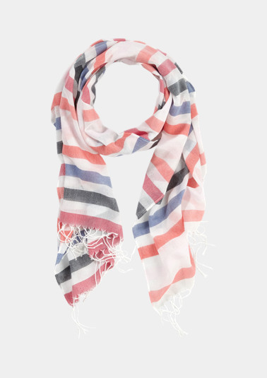 Striped scarf with long fringing from comma