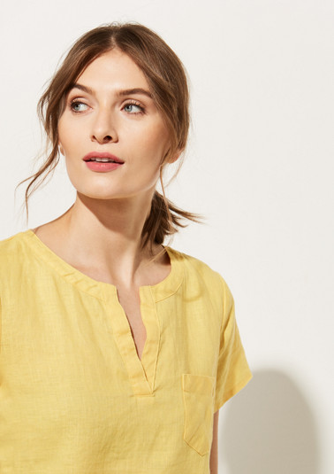Linen blouse with breast pocket from comma