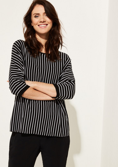1/2-sleeve knit jumper with striped pattern from comma