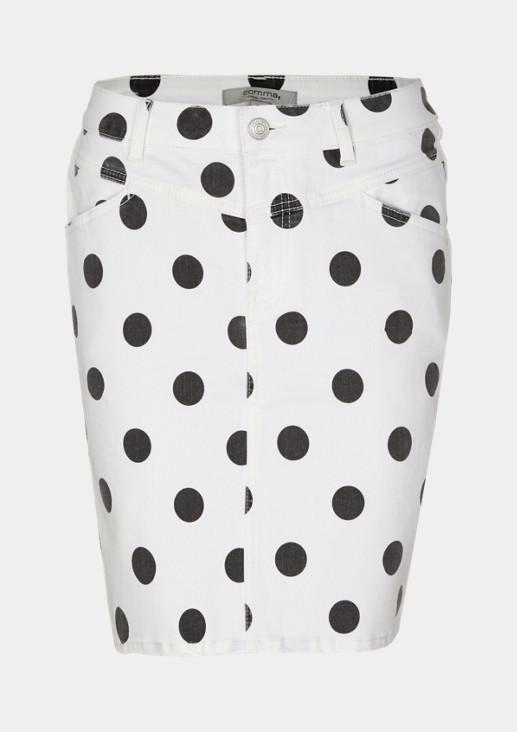 Jeansrock mit dekorativem Dot-Muster