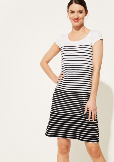 Jersey dress with a sporty stripe pattern from comma