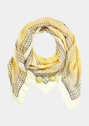 Poplin scarf with a decorative pattern mix and statement from comma