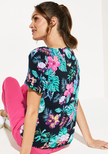 Lightweight short sleeve blouse with an all-over pattern from comma