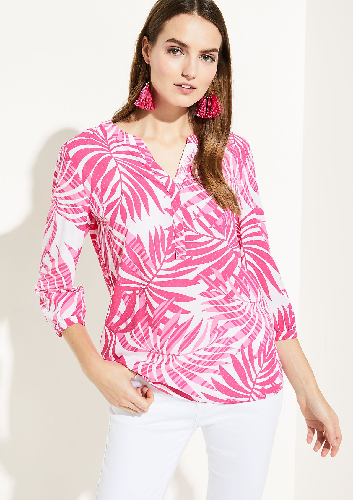 3/4-Arm Bluse mit Floral-Allovermuster
