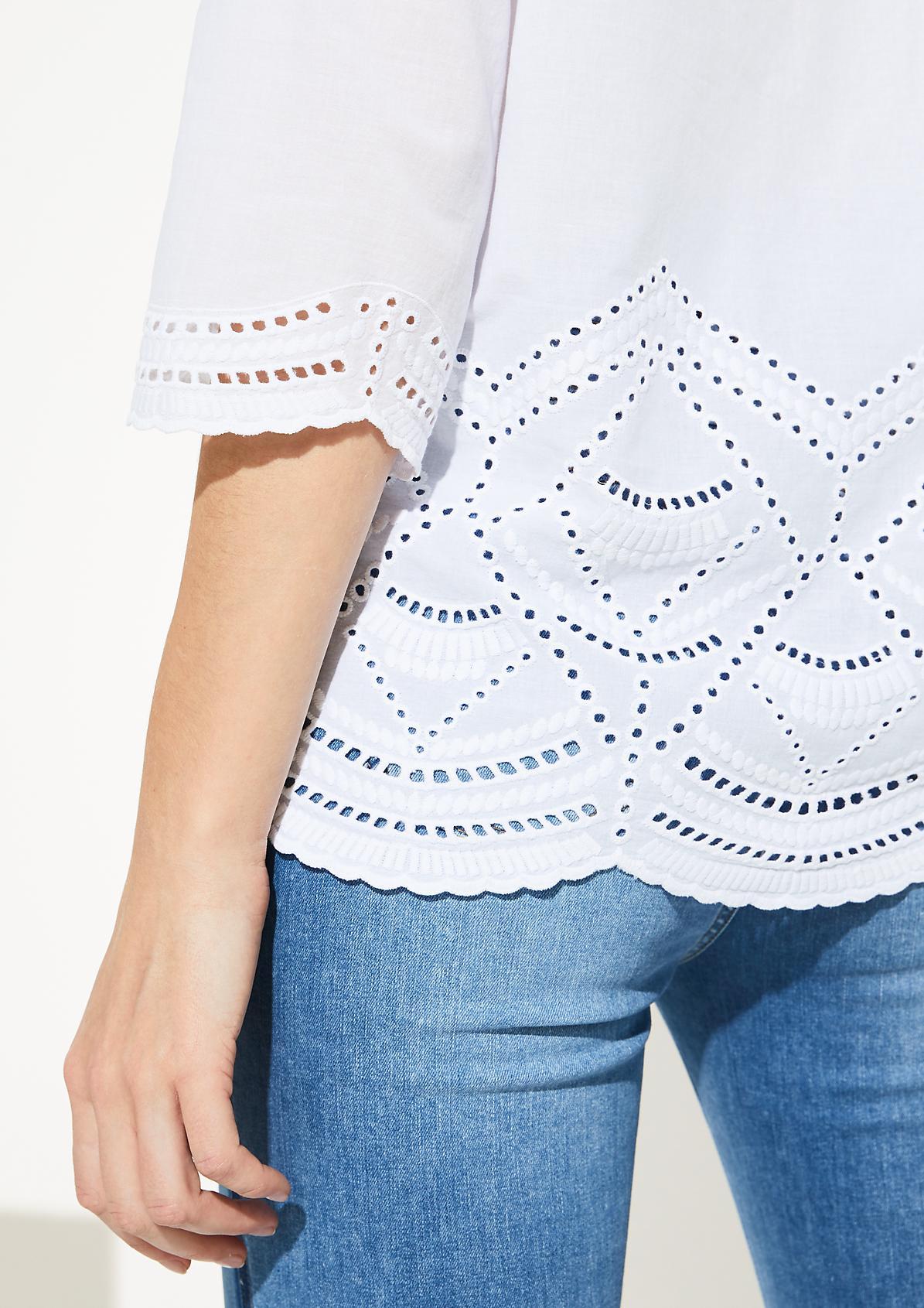 3/4-Arm Bluse mit Lochmuster und Stickereien