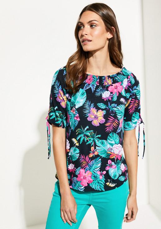 Off Shoulder-Shirt mit farbenprächtigem Muster