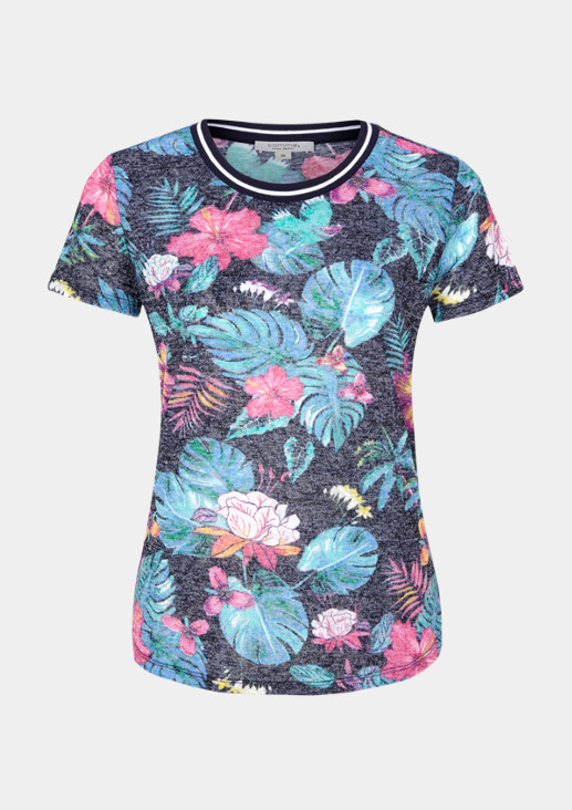 Short sleeve T-shirt with a colourful floral pattern from comma