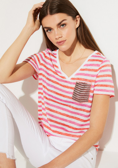 Short sleeve knit top with a striped pattern from comma