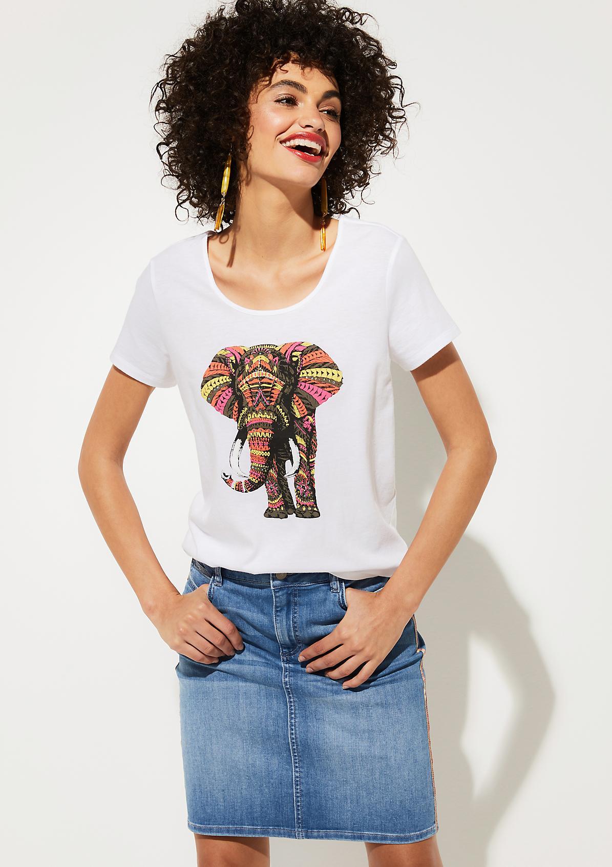 Jerseyshirt mit glitzersteinverziertem Frontprint