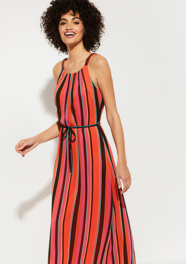 Delicate chiffon dress with a multicoloured striped pattern from comma
