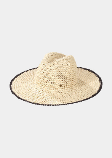 Classic straw hat with fine details from comma