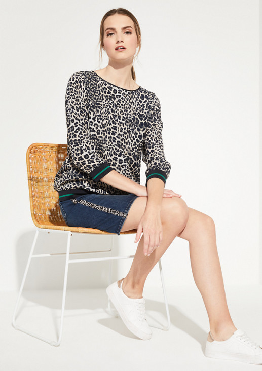 3/4-sleeve blouse with a leopard print pattern from comma