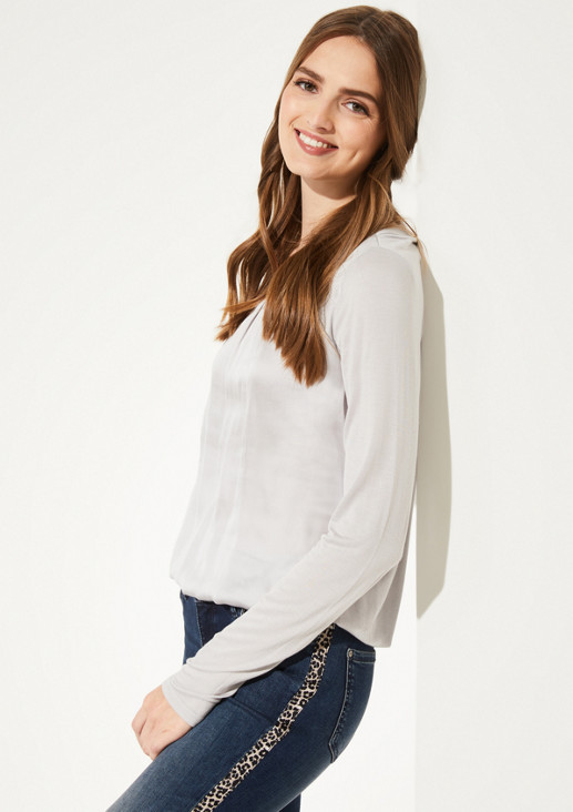Jersey long sleeve top in a sophisticated mix of materials from comma