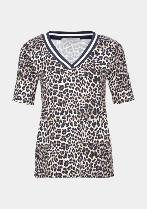 Shirt in Rippenoptik mit Leoparden-Alloverprint