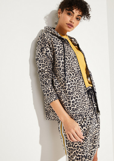 Hoodie sweatshirt with a leopard print pattern from comma