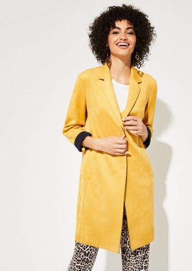 Mantel aus weichem Velourleder