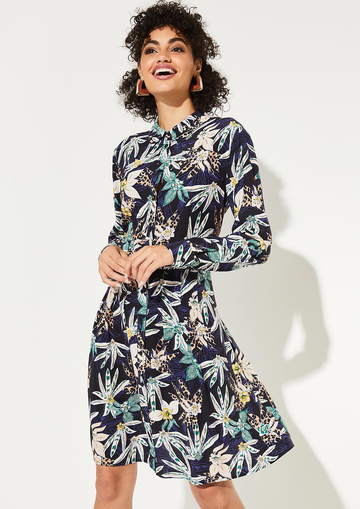 Hemdblusenkleid aus Krepp mit buntem Floralmuster