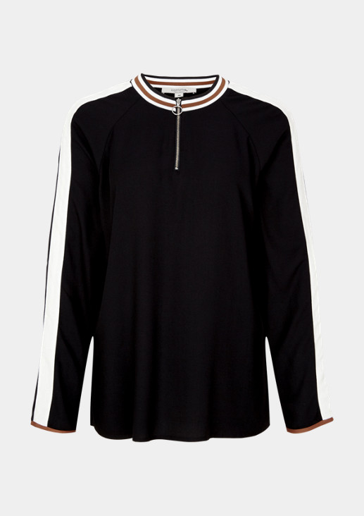 Blouse with a striped stand-up collar from comma