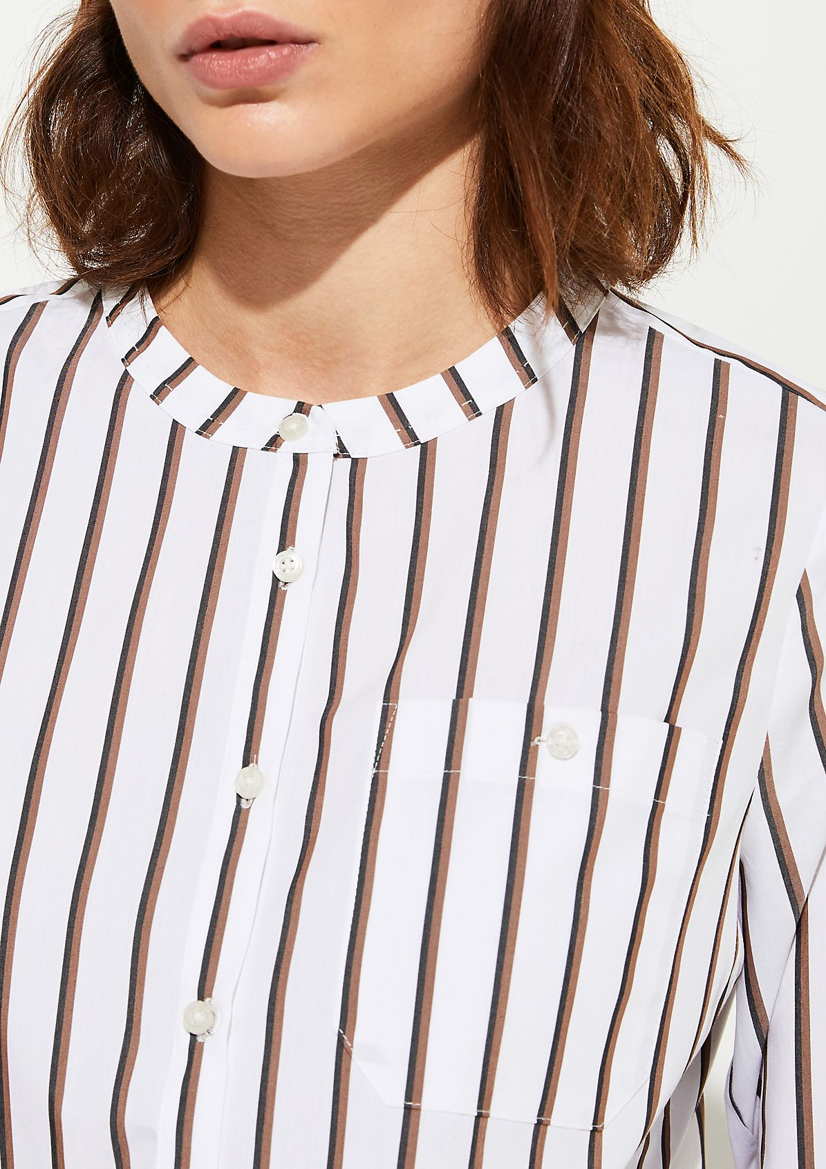 Poplin blouse with a fine striped pattern from comma