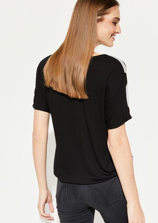 Fabric Mix-Shirt mit Frontprint