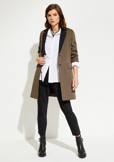 Long blazer with a check pattern from comma