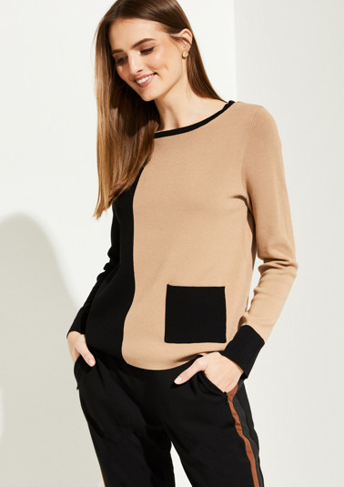 Feinstrickpullover im Two Tone-Look