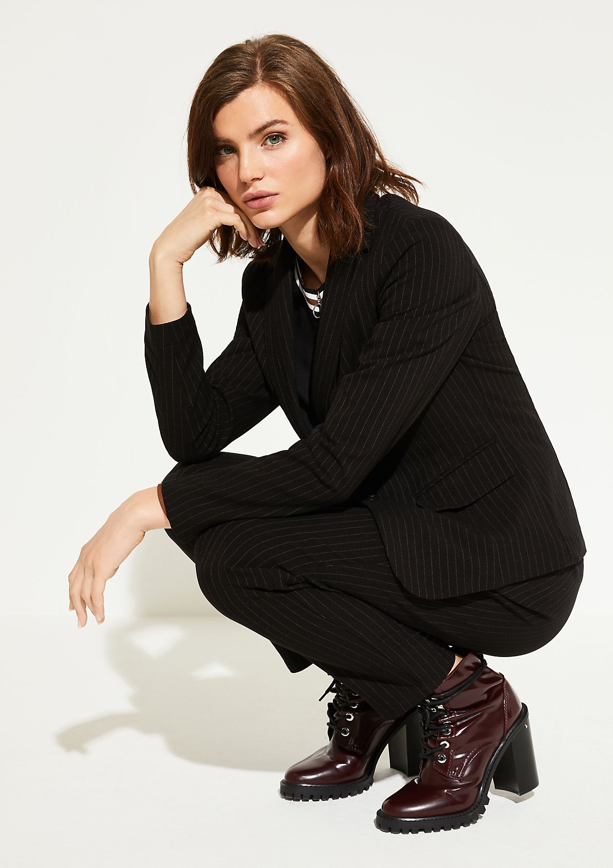 Lounge trousers in a pinstripe look from comma