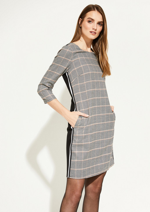 Dress with 3/4-length sleeves and a pepita print from comma