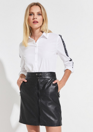 Poplin blouse with statement ribbons from comma