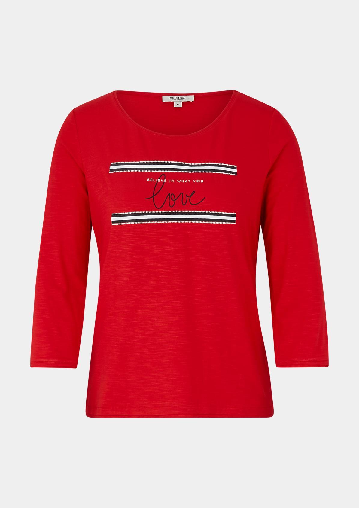 3/4-Arm Jerseyshirt mit Statement-Frontprint