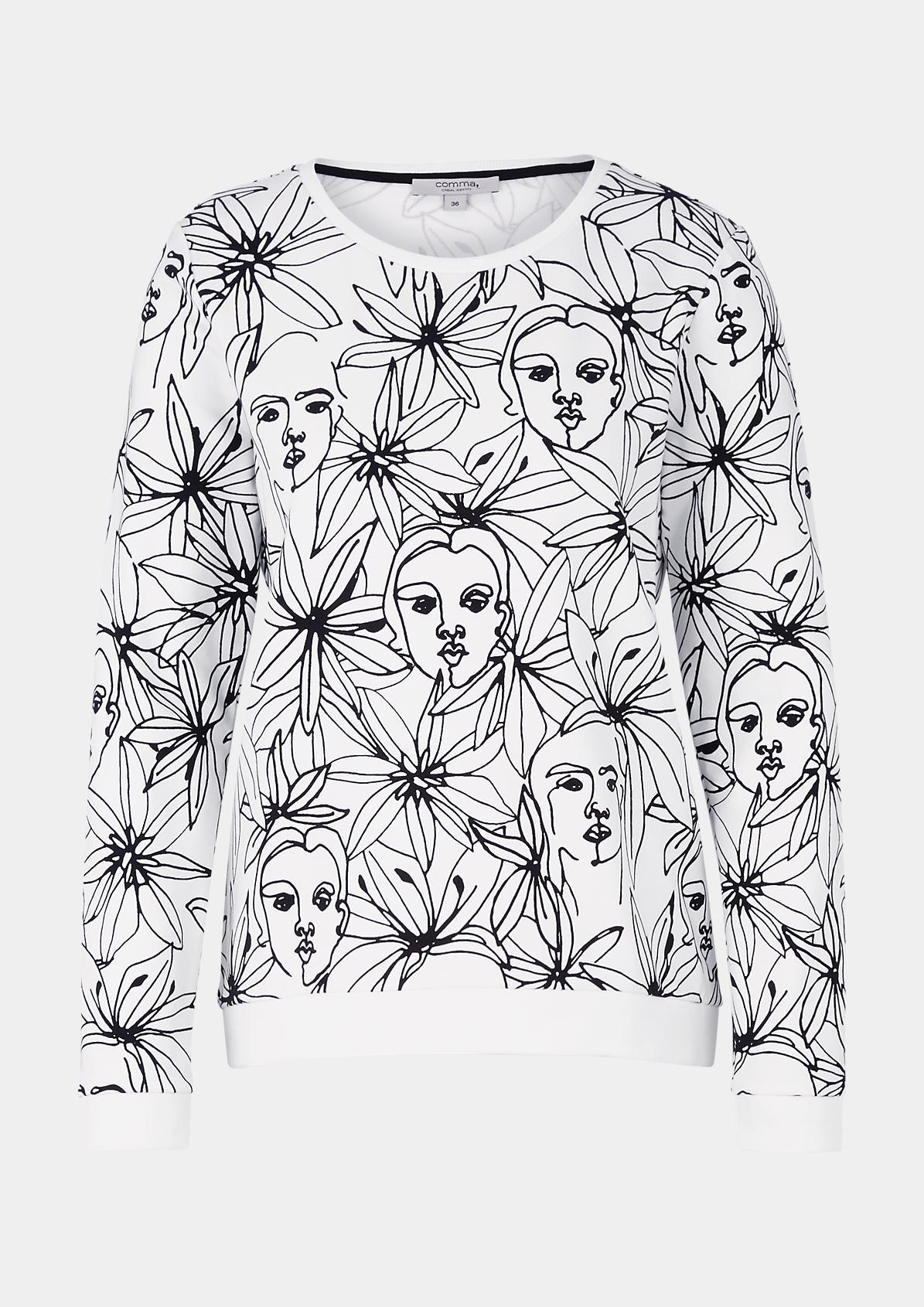 Langarm-Sweater mit aufwendig gestaltetem Alloverprint
