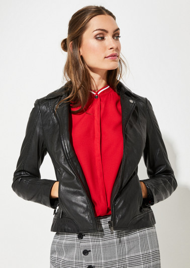 Leather jacket with a zip-off sweater element from comma