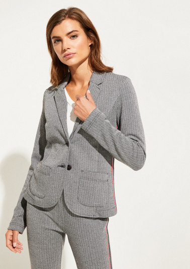 Blazer with a classic herringbone pattern from comma