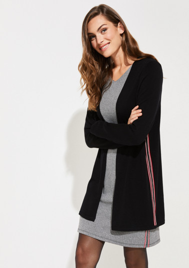 Long cardigan with side stripes from comma