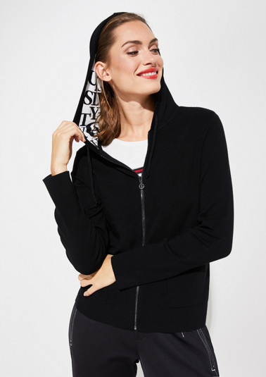 Fine knit cardigan with a hood from comma