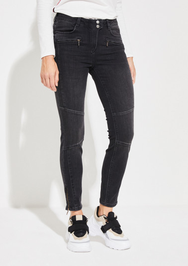 Black denim jeans with zip pockets from comma