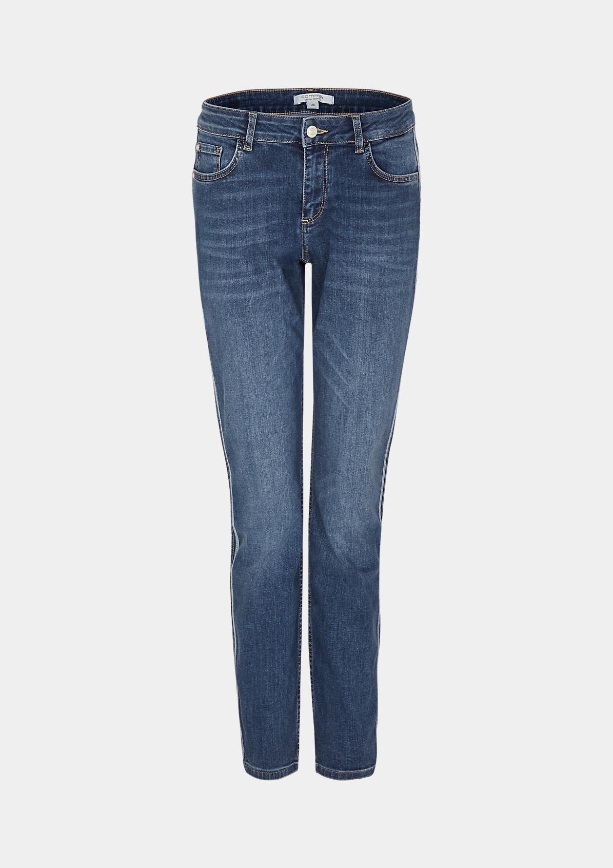 Jeans im Used-Look mit aufgesetzten Seitenstreifen
