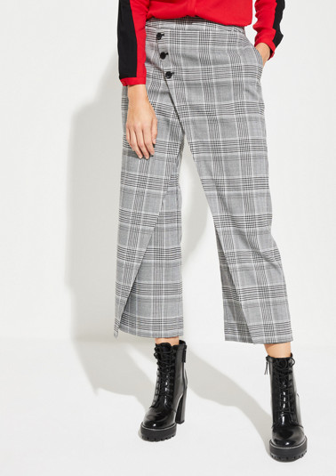 Trousers in a wrap-over look with a Prince of Wales check pattern from comma