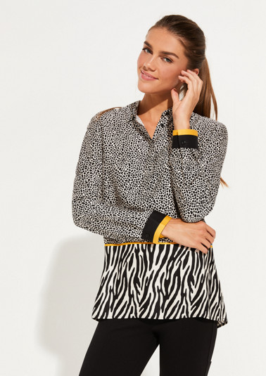 Satin blouse with a leopard/zebra mixed pattern from comma