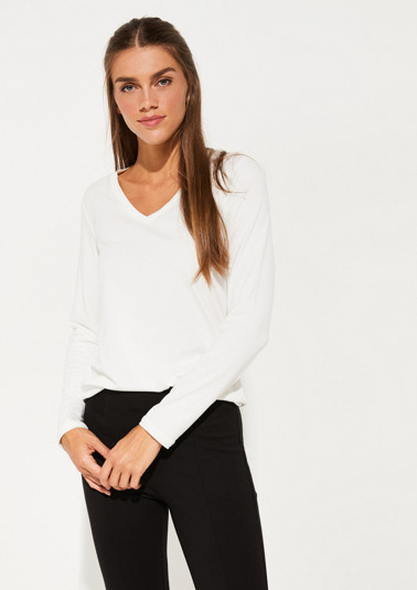 V-neck jersey long sleeve top from comma
