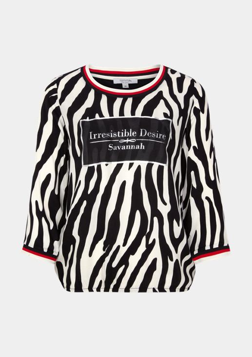 3/4-Arm Shirt mit Zebramuster und Statement-Print