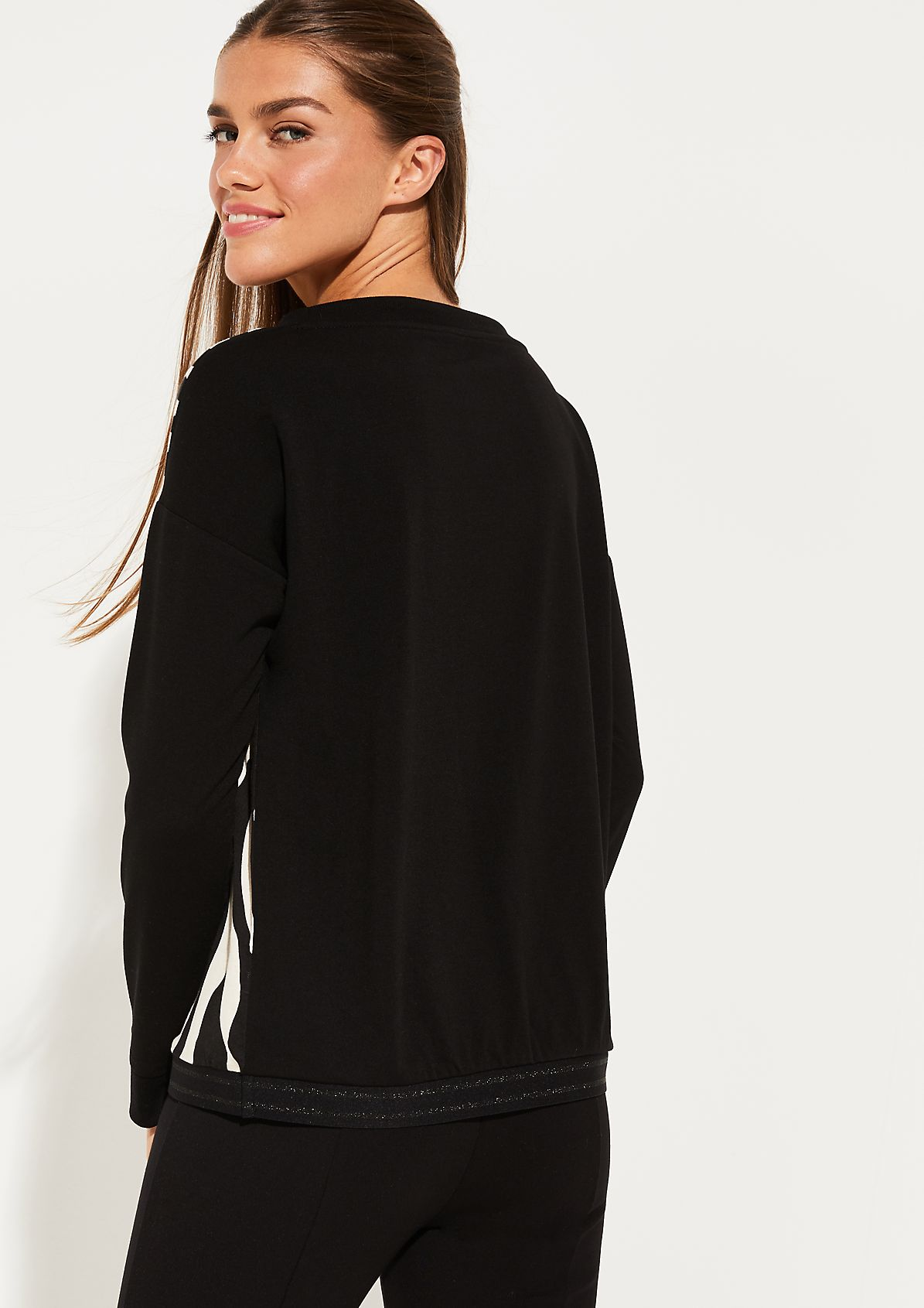 Langarmsweater mit Zebramuster und Statementprint