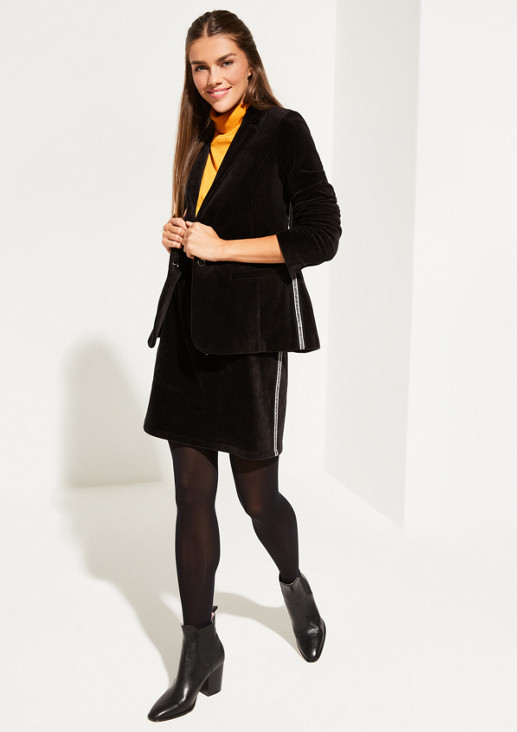 Corduroy blazer with casual side stripes from comma