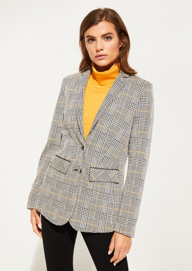 Business blazer with a classic glencheck pattern from comma